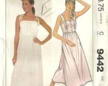 McCalls 9442 Vintage Nursing Nightgown Sewing Pattern -  Misses Size Medium 14 - 16