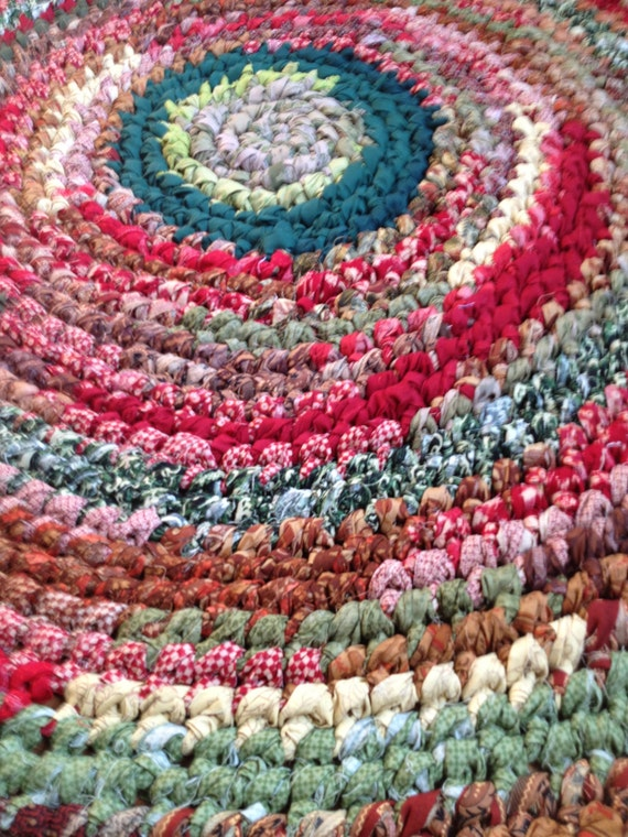 Crocheting Rag Rugs : Handmade Crocheted Country Rag Rug by PinkHeartRagRugs on Etsy