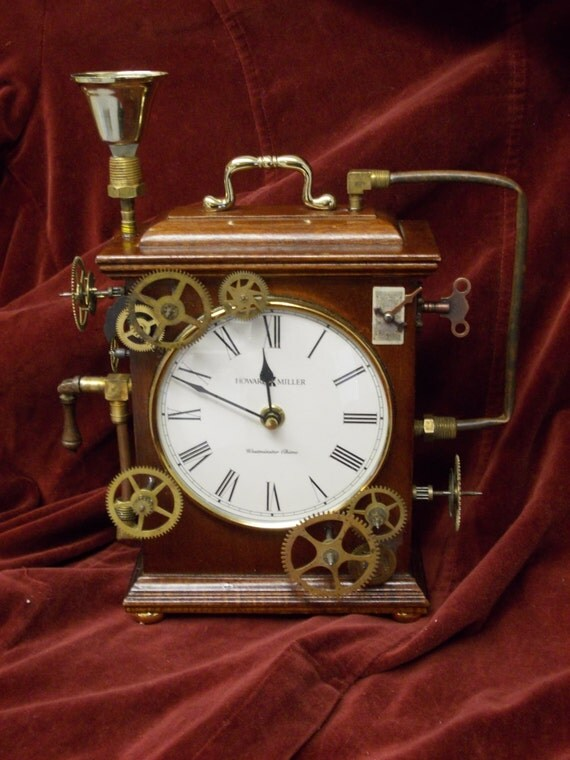 The town crier 39 s replacement chiming steampunk mantle - Steampunk mantle clock ...