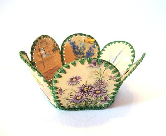 Vintage Easter Basket Vintage Upcycled Card Basket Vintage