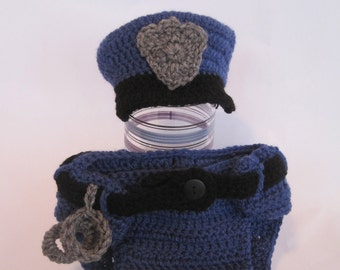Police Officer Hat and Diaper Cover-Photo Prop