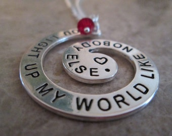 One Direction You light up my world Hand Stamp Necklace.
