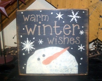 WARM WINTER WISHES 2 primitive sign