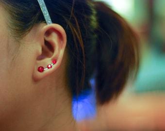 Red Rhinestone Ear Climbers - Swarovski Elements