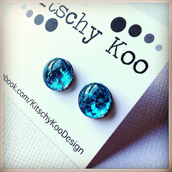 FREE SHIPPING - Glitter Earrings - Glass Stud - Surgical Steel - Blue Glitter - Handmade - Sparkle Gold Green Silver Red Blue