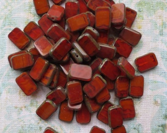 Rust Czech Tablet Beads with Picasso Edging, 12 Beads - Item 207