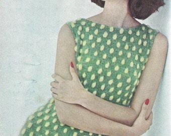 Vogue Green Polka Dot Dress Knitting Pattern PDF