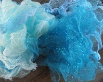 14 Yards Hand Dyed Muslin - Hand dyed Muslin & Vintage  Lace - Includes Sparkle  Tulle  Fibers  - Hues of Aquas - OOAK