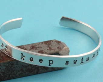 Just Keep Swimming Bracelet - Cuff Bracelet - Depression Bracelet - Silver Bracelet - Inspirational Bracelet - Motivational Bracelet - Swim