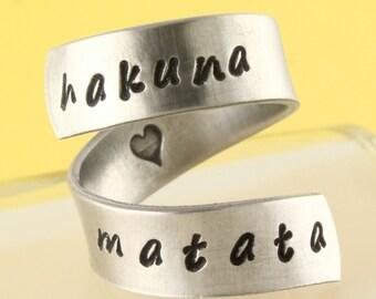SALE - Hakuna Matata Ring - Adjustable Twist Aluminum Ring - Handstamped Ring - US Size 5, 6, 7, 8, 9, 10, 11, 12, 13, 14, 15