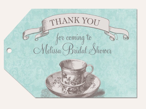bridal shower favor tags blue and grey bridal tea favor tags bridal shower thank