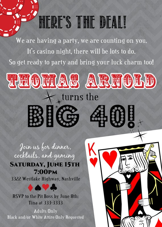 Casino Themed Birthday Invitations is beautiful invitation design