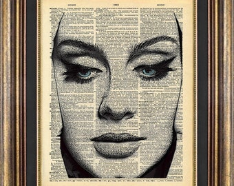 ADELE Blue Eyes Vintage Dictionary Page Print Up Cycled Book Page Art