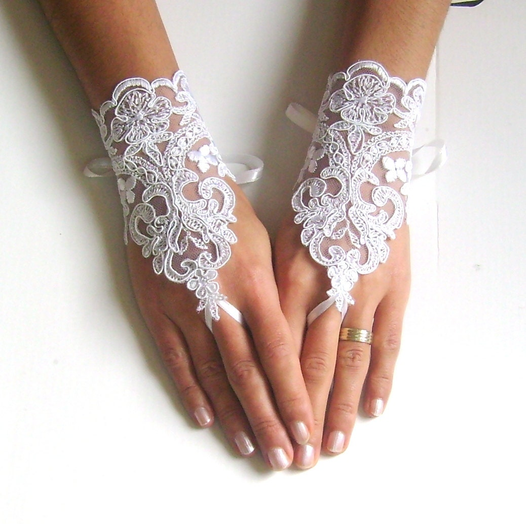 White Wedding Gloves French Lace Gloves Bridal Gloves Lace