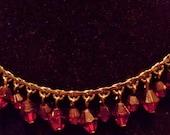 Vintage Red Crystal Necklace Choker
