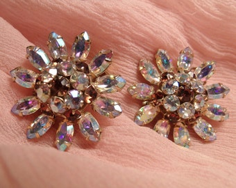 Vintage Unsigned Schreiner Earrings, Clip on, AB Flower