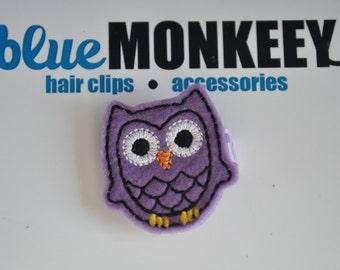 Purple Owl Mini Hair Clip