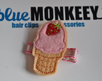 Strawberry Ice Cream Cone Hair Clip