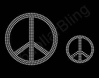 Peace Signs - Two sizes - Rhinestone Iron-on Crystal Bling Transfer Applique - Make Your Own Shirt DIY!