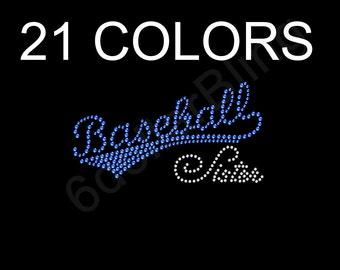 "Rhinestone Iron On Transfer ""Baseball Sister"" Crystal & Any Color Small Sports Bling Design"