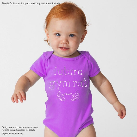 Rhinestone iron on transfer future gym rat crystal bling for Make your own gym shirt
