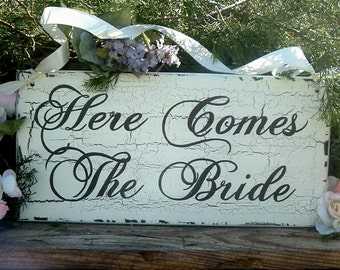 Here Comes The Bride Wedding Sign Painted Wedding Sign Wood Wedding Sign
