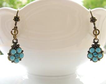Turquoise earrings, Opal turquoise earrings, Turquoise Flower earrings, Dangle earrings, Swarovski crystal Earrings, Bridesmaids gift.
