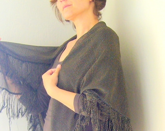 Fabric shawl with tassels / vintage shawl golden glittered / black and gold shawl / ooak