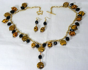 Spots and Stripes Necklace and Earrings