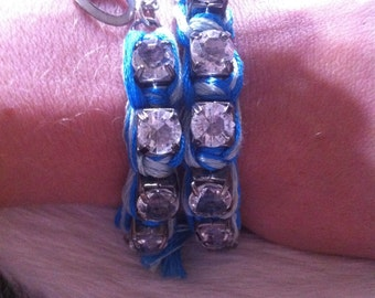 Ocean Blue Woven Rhinestone Chain Wrap Bracelet with Heart Charm and Tassel