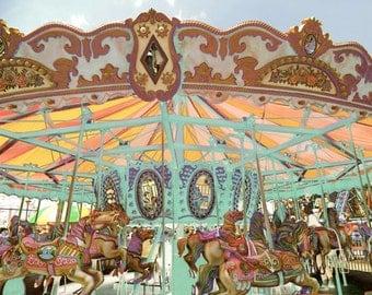 Carousel - Carnival Photograph - Nursery Wall Art - Kid's Room Decor - Happy Ride -  Art Decor - Coney Island Carousel - New York Carousel
