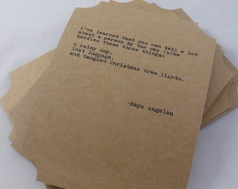 The Maya Angelou Quote Card Collection-- Five Inspirational Art Typography Letterpress Cards