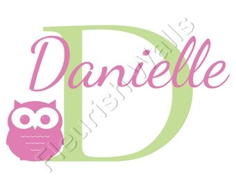 Owl Wall Decal Personalized With Child's Initial And Name For Baby Girls or Boys Nursery Or Girls Room Vinyl Wall Art CN006