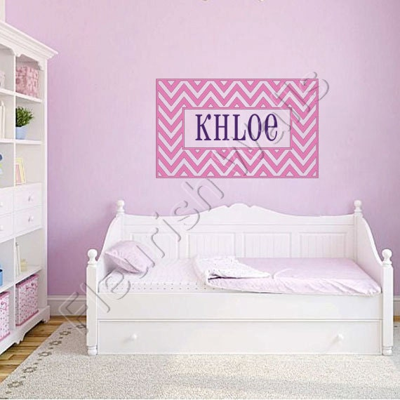 name wall decal cute chevron border personalized by fleurishwalls. Black Bedroom Furniture Sets. Home Design Ideas