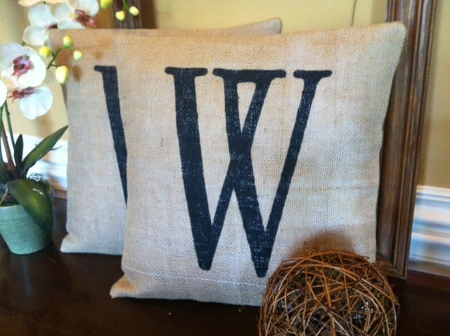 Burlap Throw Pillows Etsy : Burlap Pillow Personalized Burlap Pillow Personalized
