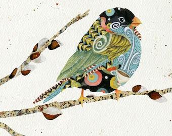 Art Print. Cafe Swirly Bird