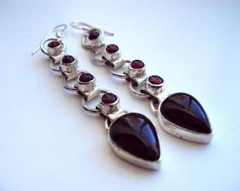 925 Silver Dangle Teardrop Burgundy Stone Earrings