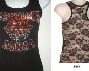 New Rhinestone BASKETBall  MoM  Lace Back TANKTOP Shirst Blacks Size:S, To XL   Free Shipping available in white color sport