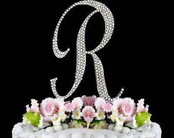 Large Rhinestone Crystal Monogram Letter  R   Wedding Cake Topper 5 inches high