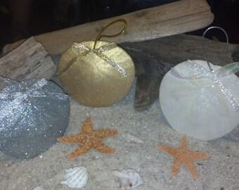 Sand Dollar Ornaments Set of 6 - Beach Decor - Nautical Decor