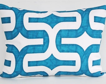 Pillow Cover Designer Lumbar Pillow - 12x16 Aqua Blue - White Modern Pillow Cover - Toss Pillow Cover