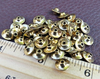 Solid Brass Flying Saucer Beads 8mm x 4mm (100 pieces)