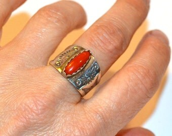 South West sterling silver and coral ring hand stamped size 8