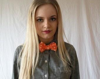 Self-Tie Adjustable Bow Tie Orange with Deer Print Men/Women