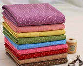 SALE - Purple polka dot fabric / Purple cotton linen blend fabric (half yard)