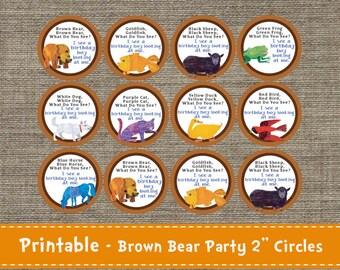 Brown Bear - Party Circles - Tags - Labels - DIY - Printable