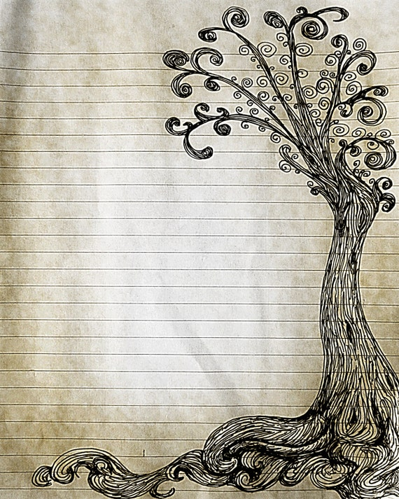 Printable Pen and Ink Tree Drawing Lined Journal Page Digital – Print Lined Writing Paper