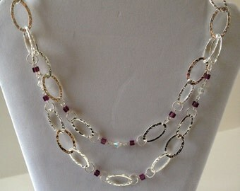 Purple Square Swarovski Bead / Double Tiered Necklace - Free Shipping