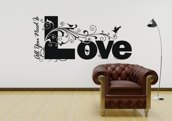 All you need is love quote the beatles vinyl wall art by for Beatles bedroom ideas