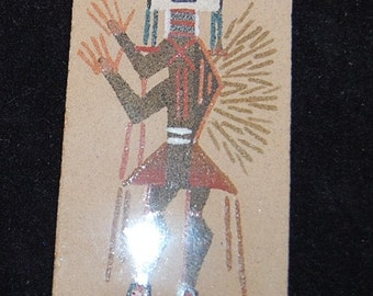 Vintage Southwestern Native American Sand Painting